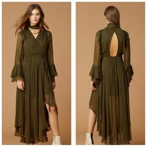 DVF Olive Green Diva Ruffle Sleeve Midi Wrap Dress